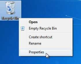 Recycle Bin Properties Select